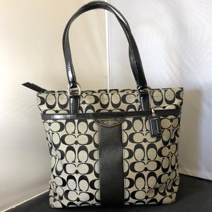 Coach Signature Stripe Tote Bag F28504